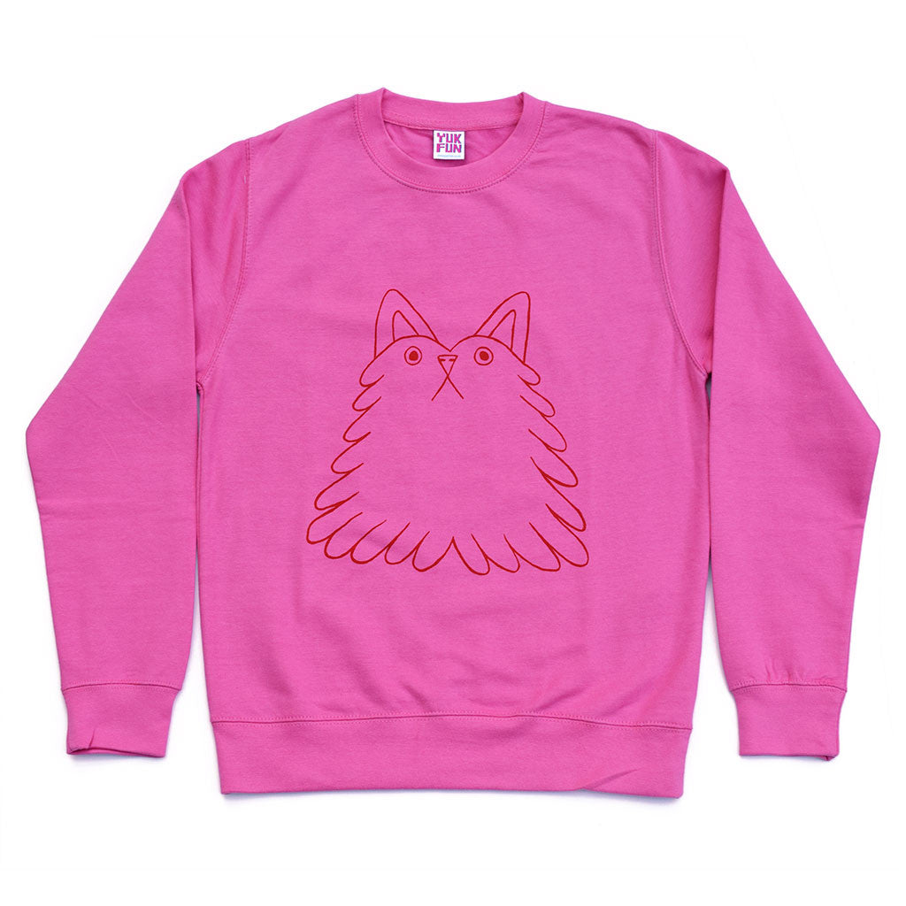 Super cute pink cat dog sweatshirt by illustration duo YUK FUN