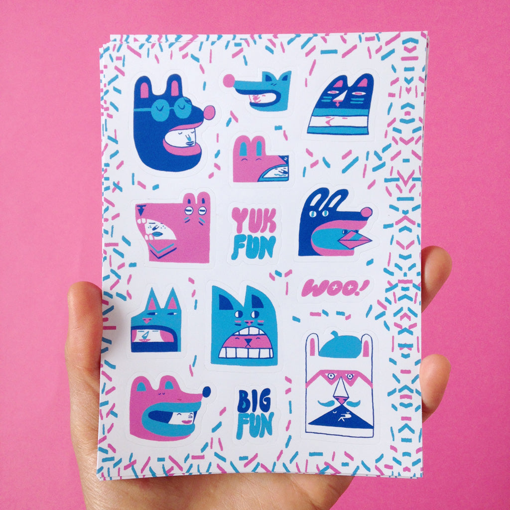 Cute animal characters sticker sheet by YUK FUN