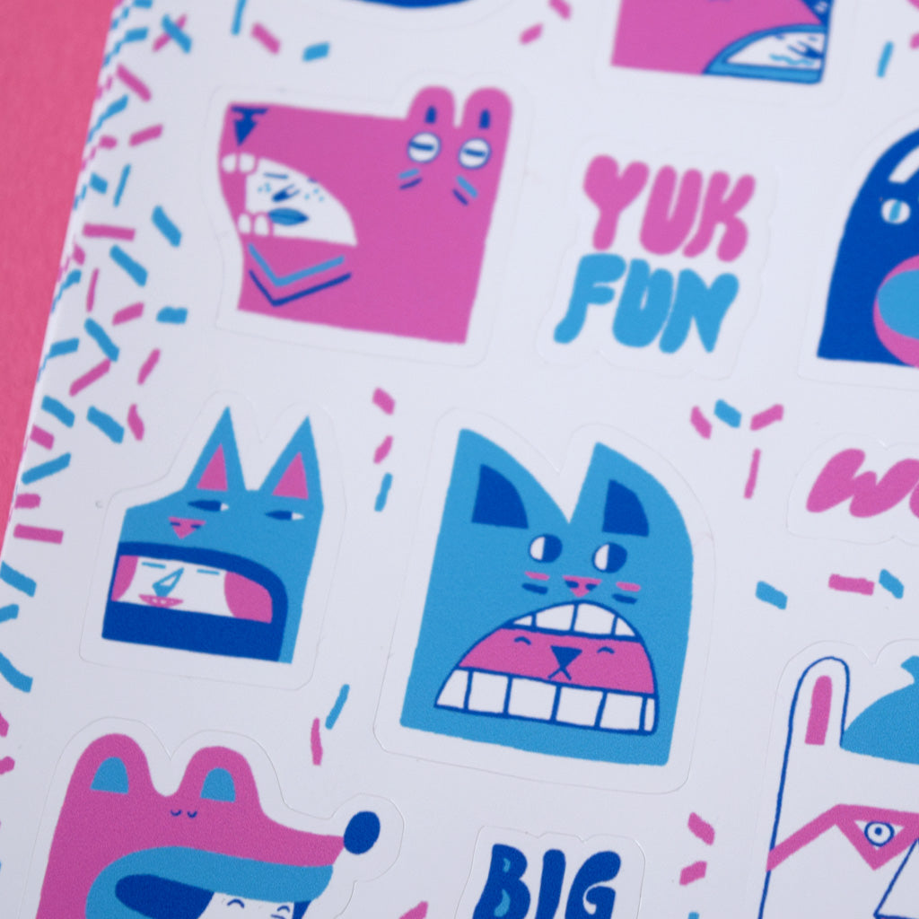 Close up detail of cute characters sticker sheet by YUK FUN