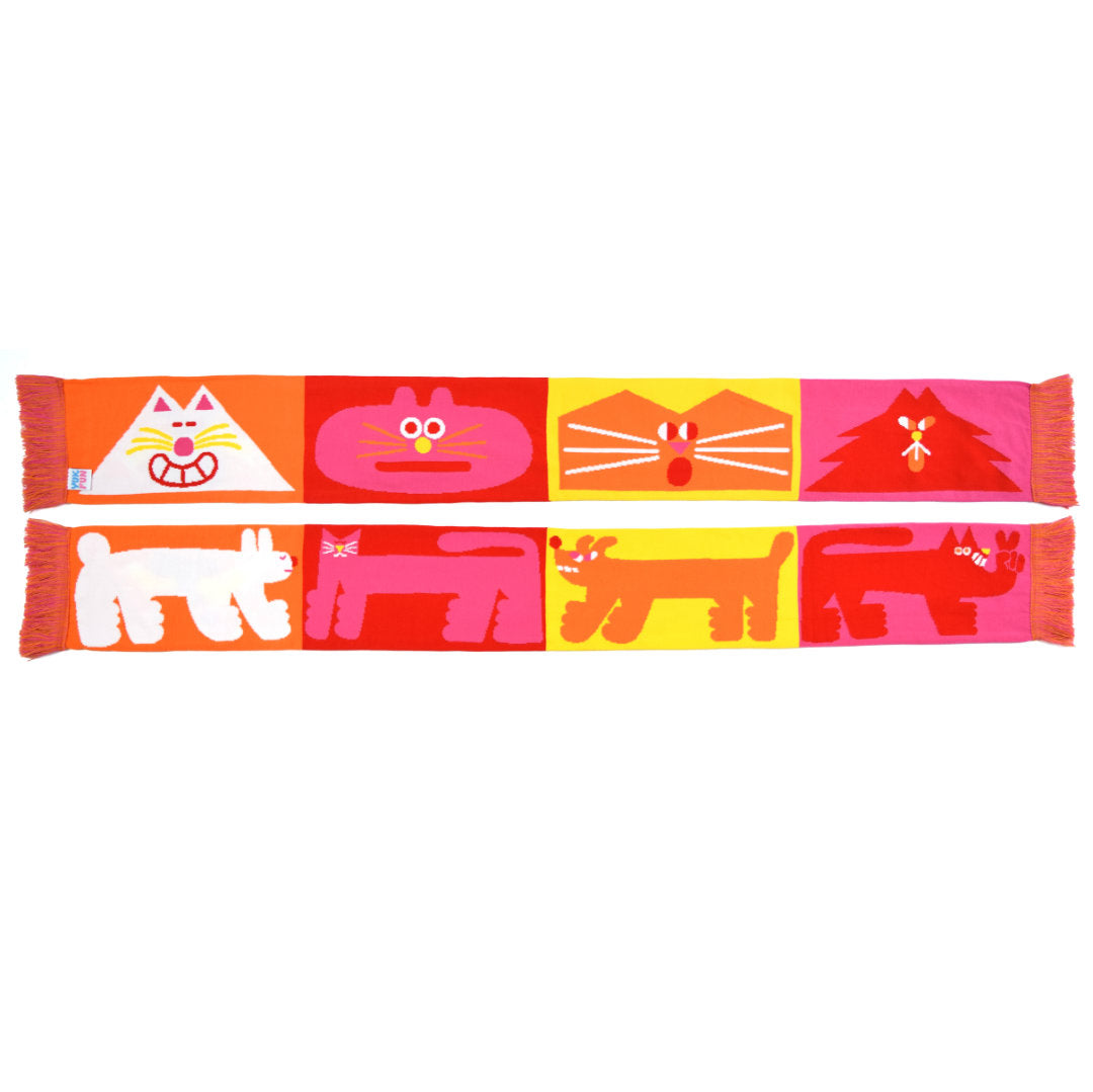 Super bright colourful orange, pink, red and yellow cat and dog scarf by YUK FUN