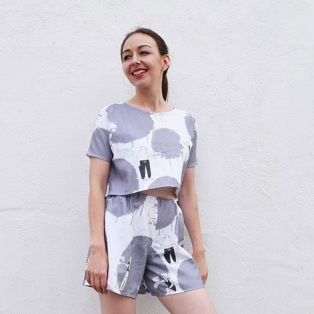 Handmade Graffiti Animals illustration print co-ord set by YUK FUN