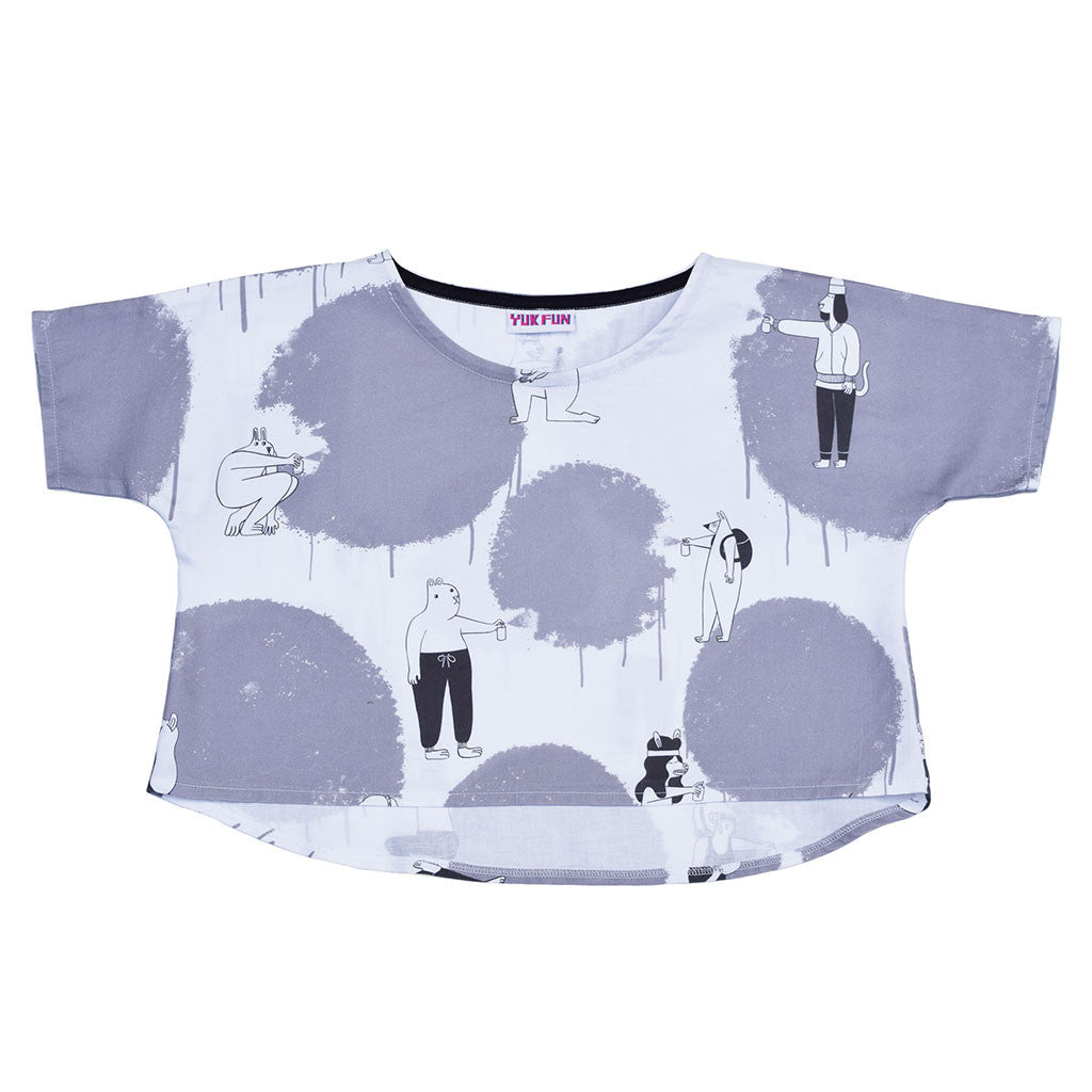 Cute Graffiti Animals Print Boxy Crop Top by YUK FUN
