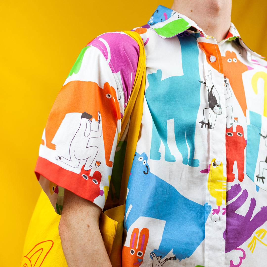 Awesome crazy colourful mens shirt by indie label YUK FUN