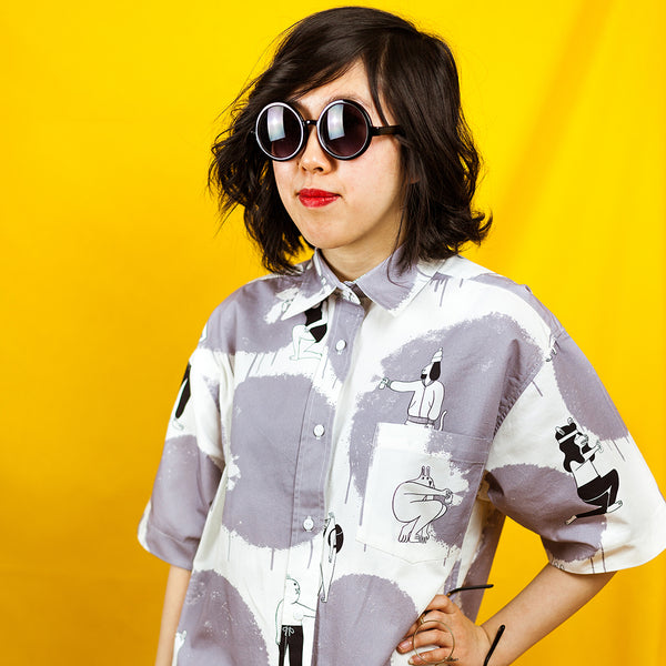 Quirky grey polka dot print shirtdress handmade by illustration duo YUK FUN