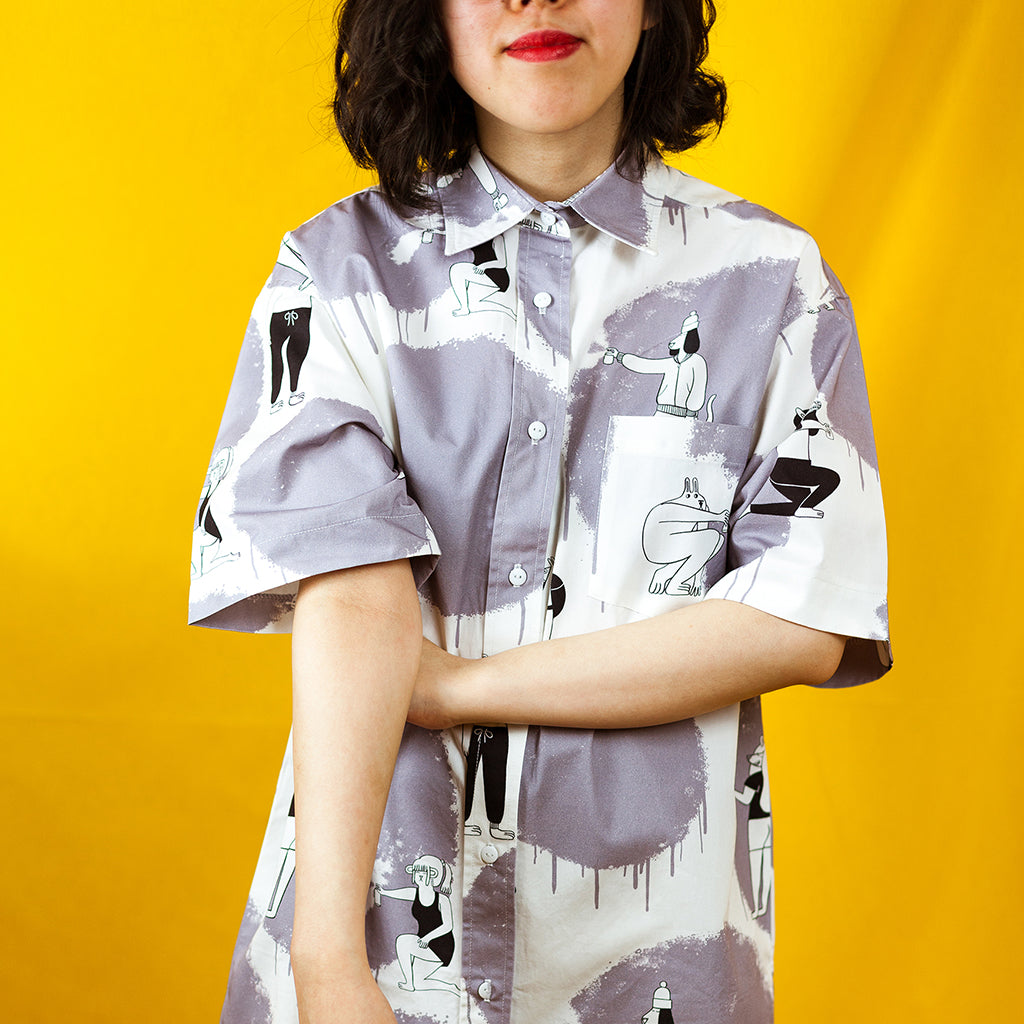Monochrome illustrated all over pattern shirtdress handmade and designed by YUK FUN