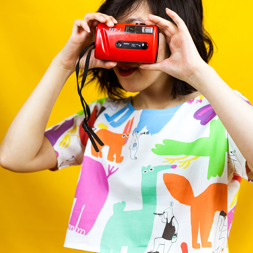 Awesome super colourful cute illustrated crop top by indie label YUK FUN