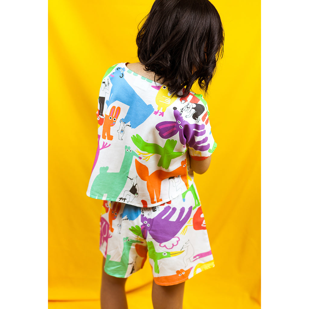 Cute Rainbow Painting Animals Print co-ord set by YUK FUN