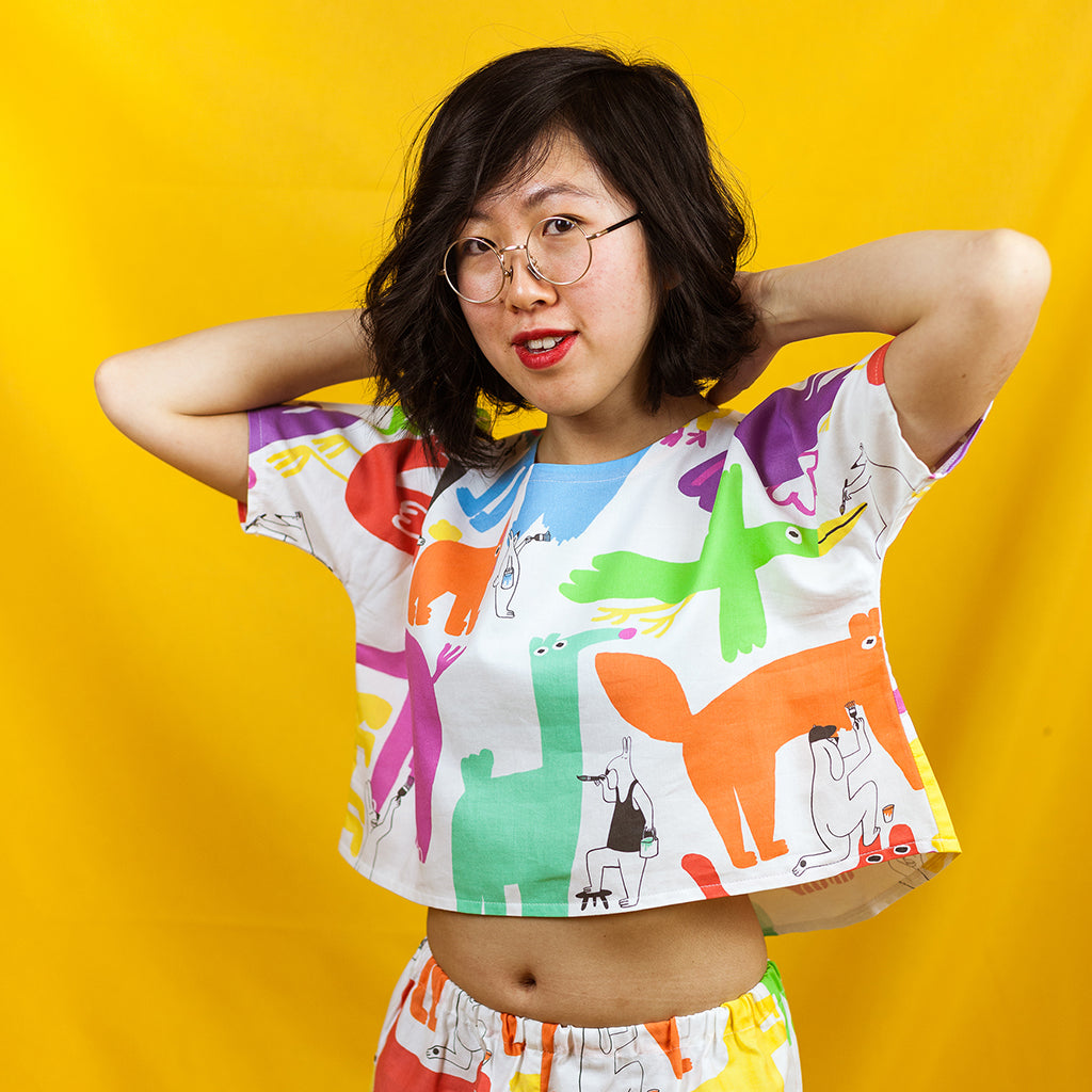 Rainbow colour animal print boxy crop top handmade by illustration duo YUK FUN