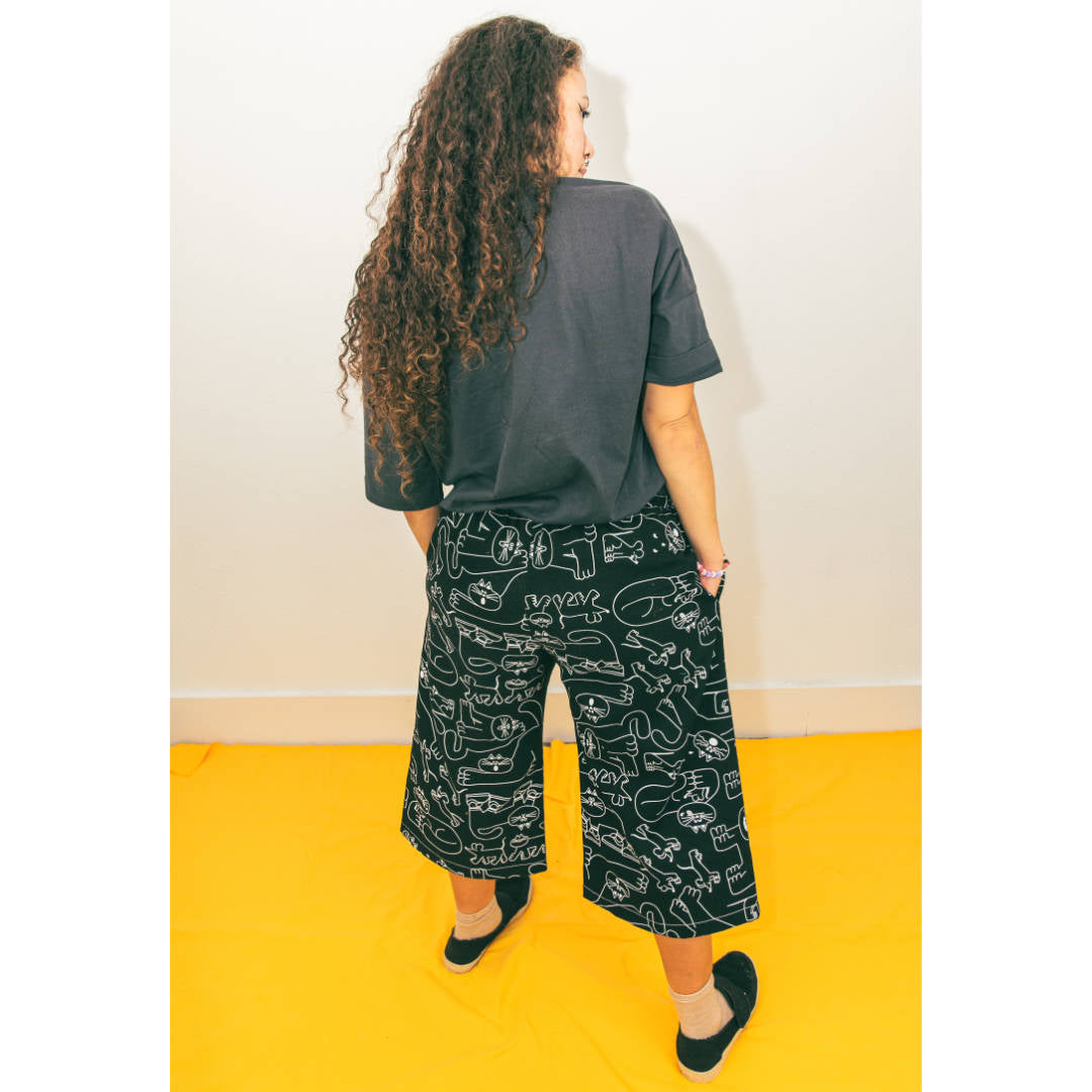 Awesome trousers covered in cats by independent label YUK FUN