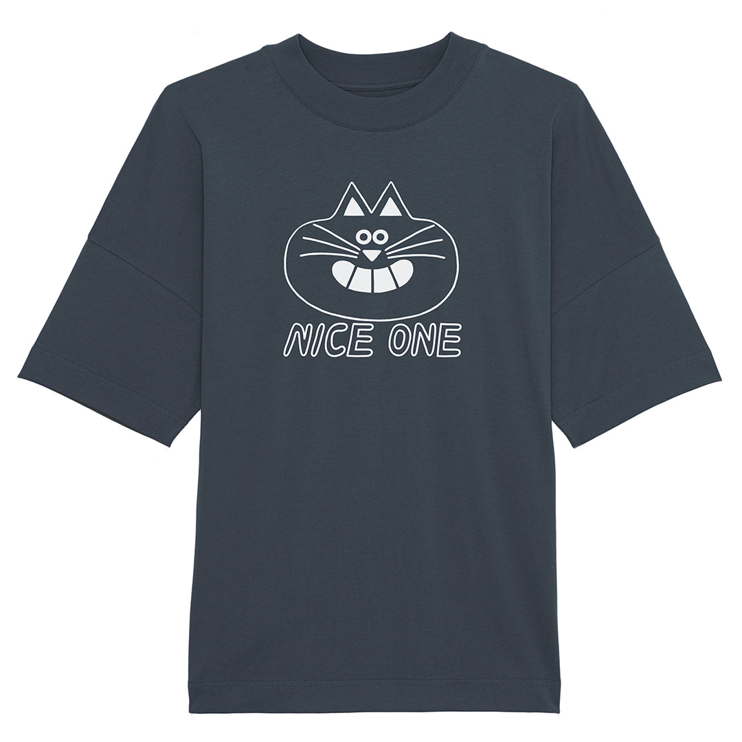 Happy cat T-shirt with NICE ONE slogan in grey designed and screen printed by YUK FUN