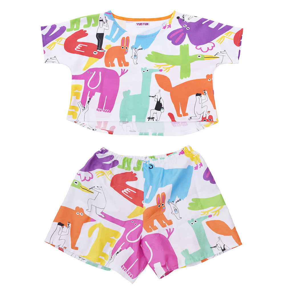 Cute Colourful Painting Animals Print co-ord set by YUK FUN