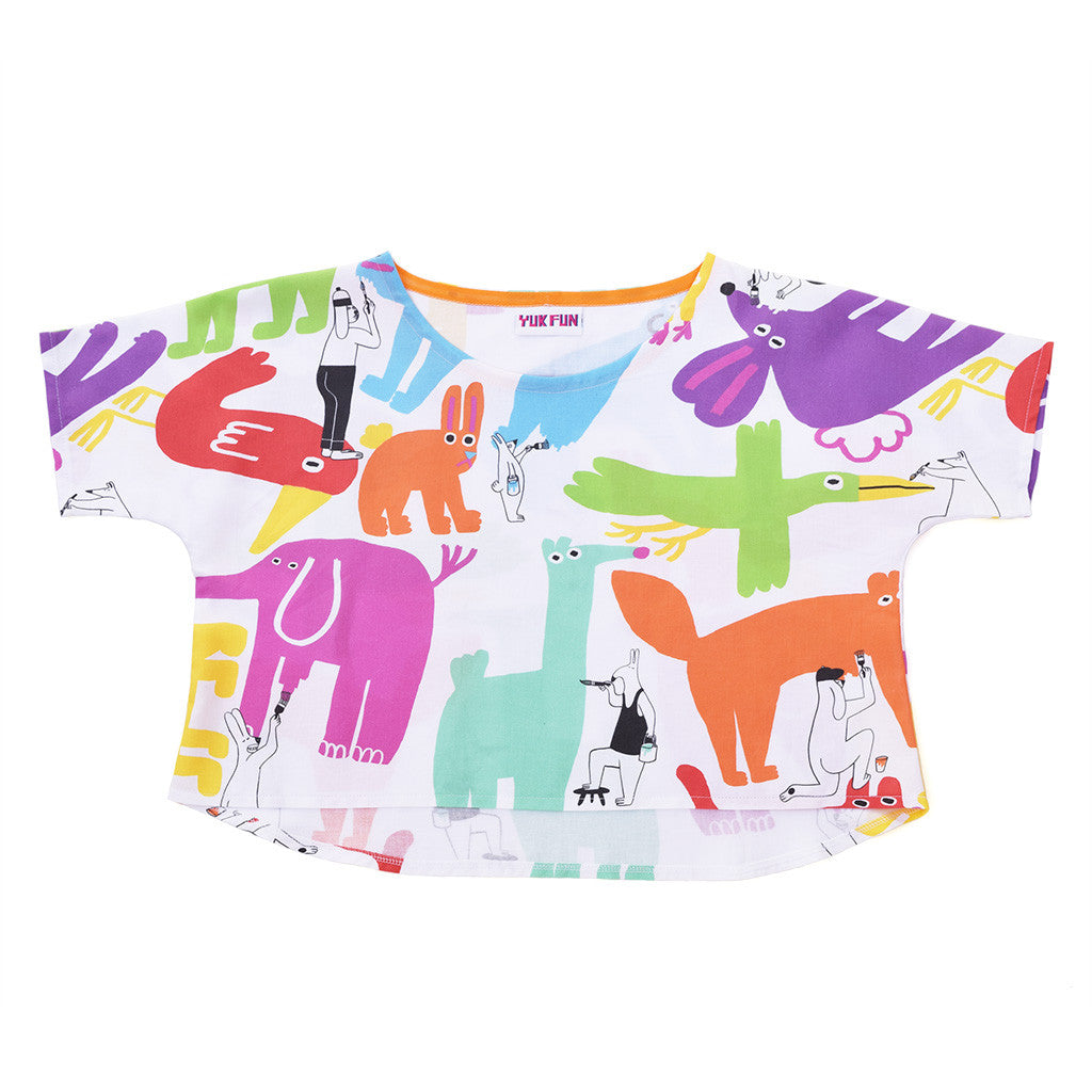 Cute Painting Animals Boxy Crop Top by YUK FUN