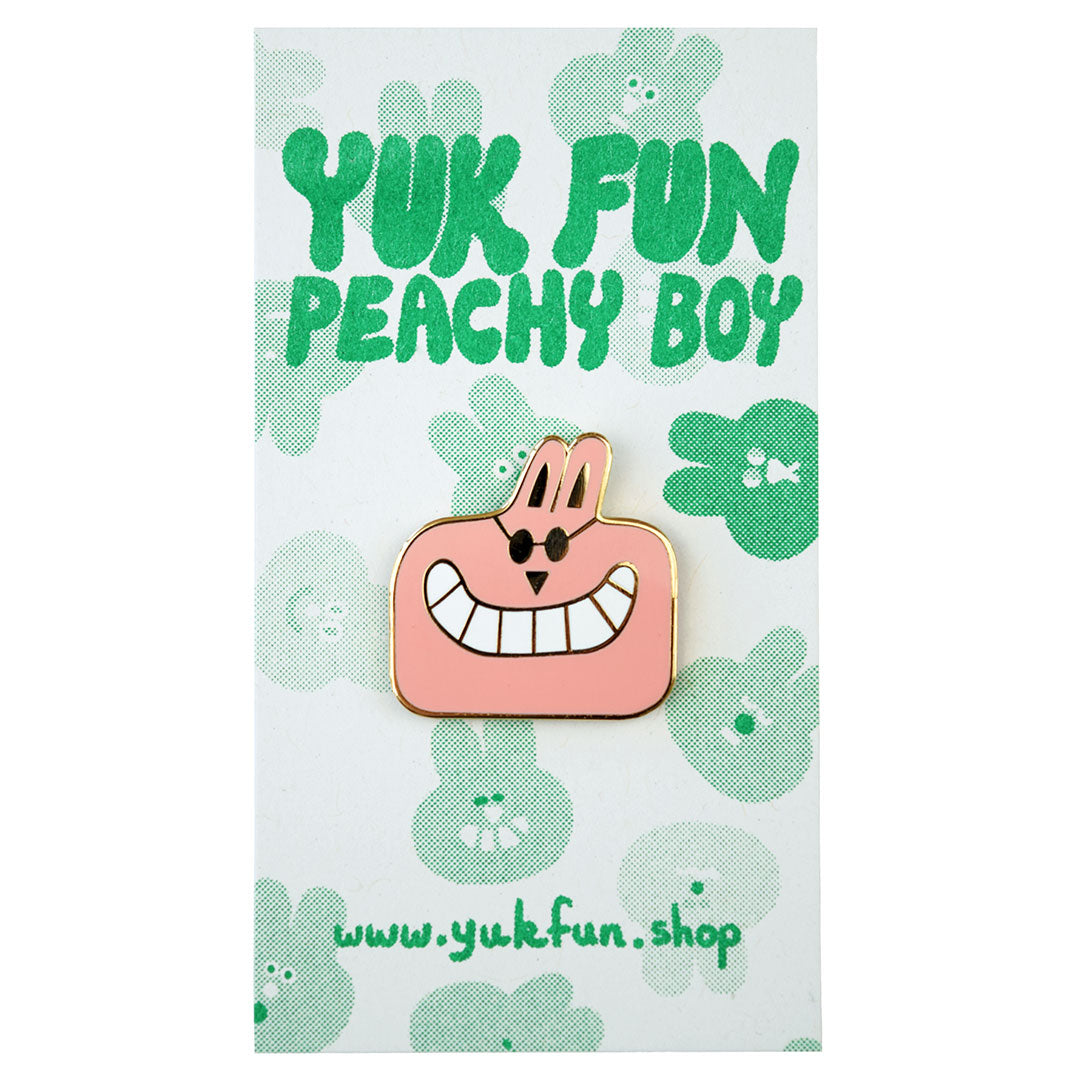 Totally cool peachy boy enamel pin by YUK FUN