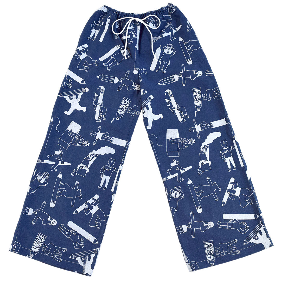 All over print denim trousers ethically made from sustainable 100% organic fabric by illustration duo YUK FUN