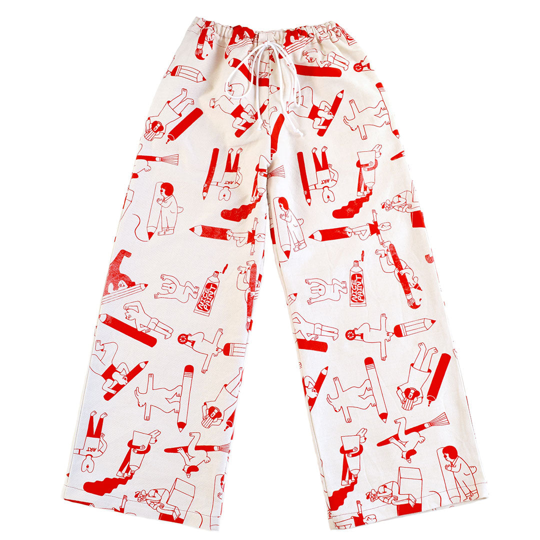 Hot red YUK FUN Artist Suit trousers/pants made from 100% organic cotton