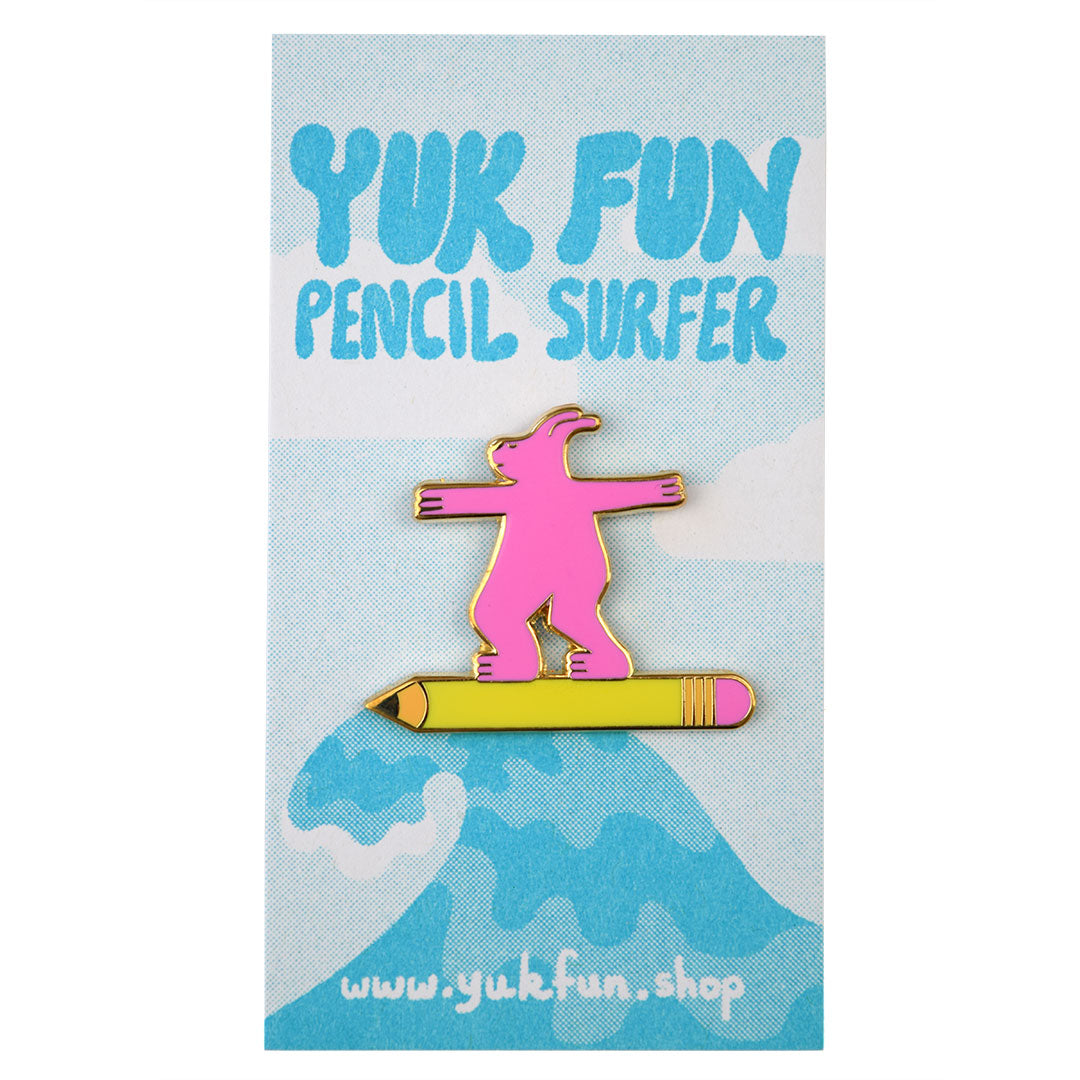 Totally rad pencil surfer enamel pin by indie label YUK FUN