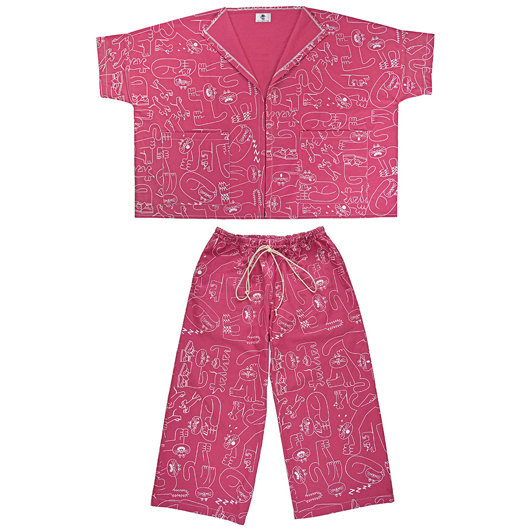 Awesome raspberry pink hand printed cat pattern trouser suit designed and ethically made in the UK by YUK FUN