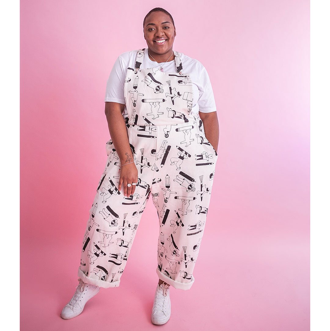 Awesome all over print plus size dungarees made in the UK