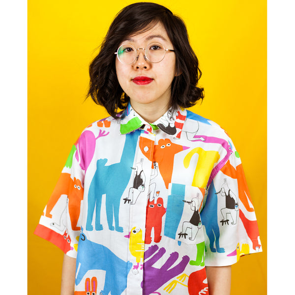 Cute animal print shirt dress by illustration duo YUK FUN