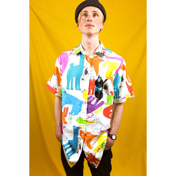 Colourful animal print Mens shirt by YUK FUN