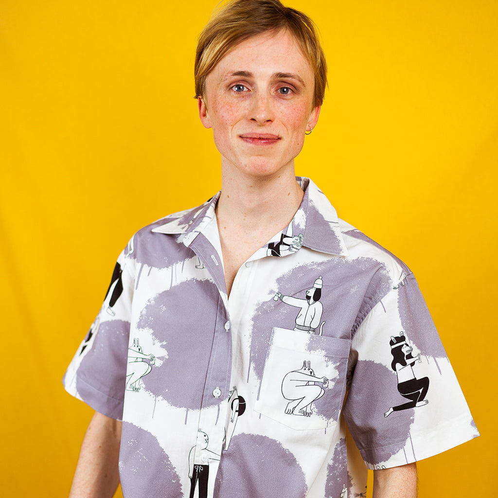 Quirky fun all over print grey men button up shirt by YUK FUN