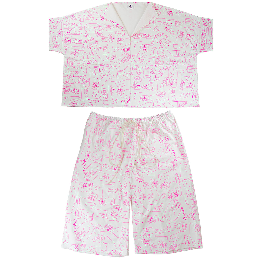 Pink and white trouser suit designed, screen printed and ethically made by independent label YUK FUN