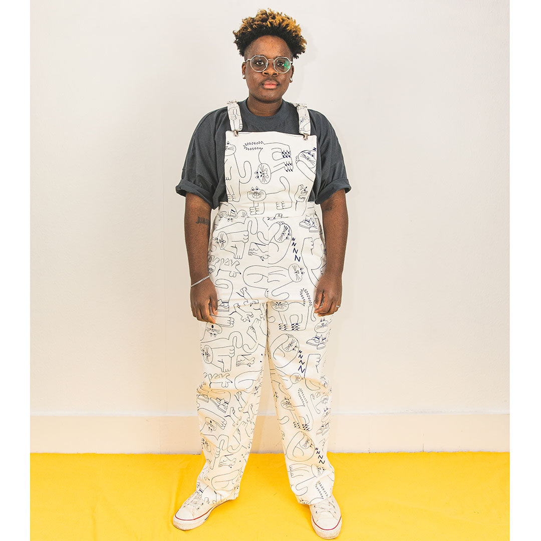 Cool unisex dungarees made in the UK with an all over cat pattern screen printed by YUK FUN and made by The Emperor's Old Clothes