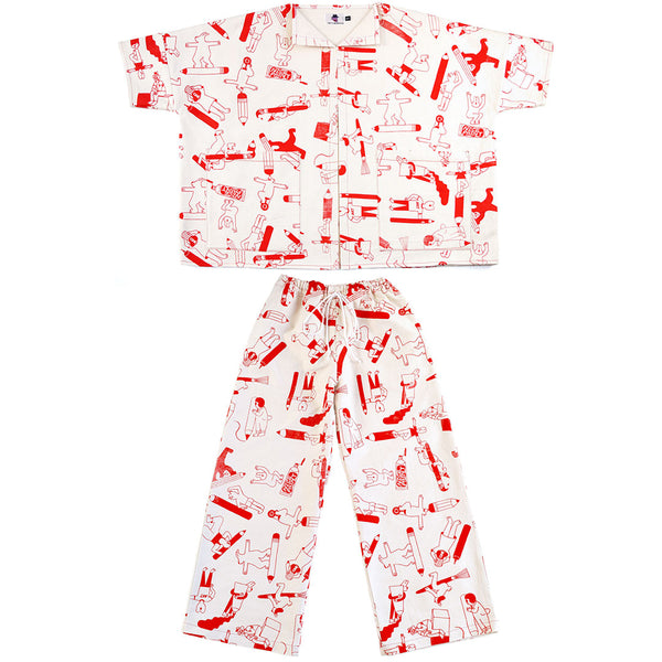 Red Artist Suit two piece by illustration duo YUK FUN