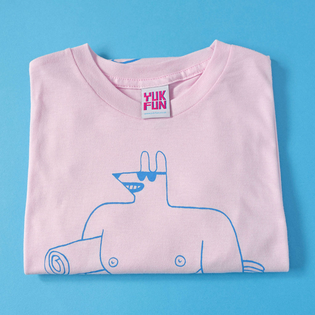 Pastel Pink Screen Printed Beach Hunk T-shirt by YUK FUN
