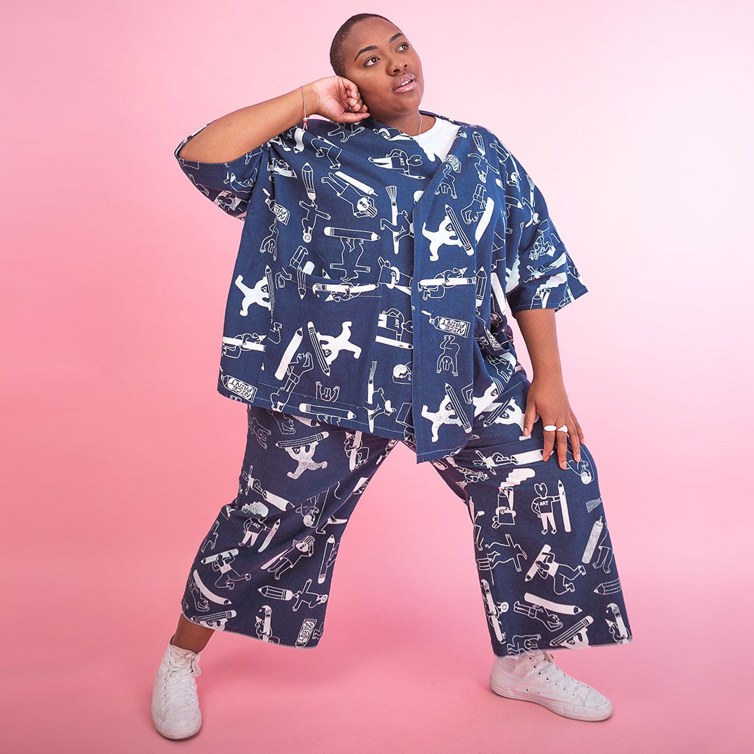Double denim Artist Suit designed and screen printed by illustration duo YUK FUN