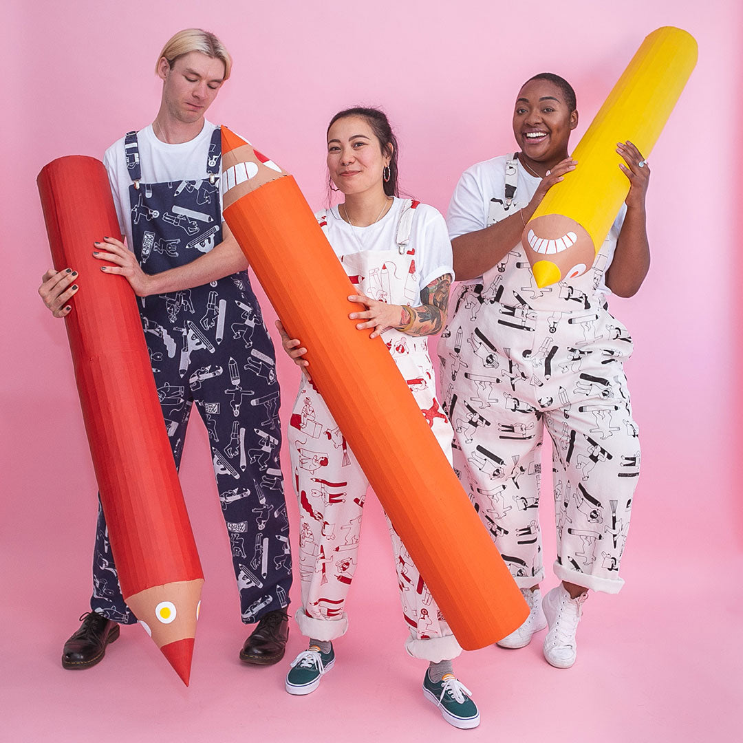 YUK FUN X The Emperor's Old Clothes Pencil Party Dungarees ethically made in the UK from sustainable 100% organic cotton