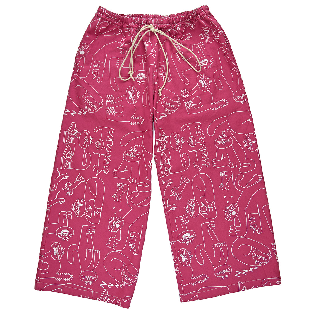Super comfortable pink wide leg trousers made from 100% organic cotton and hand printed by YUK FUN