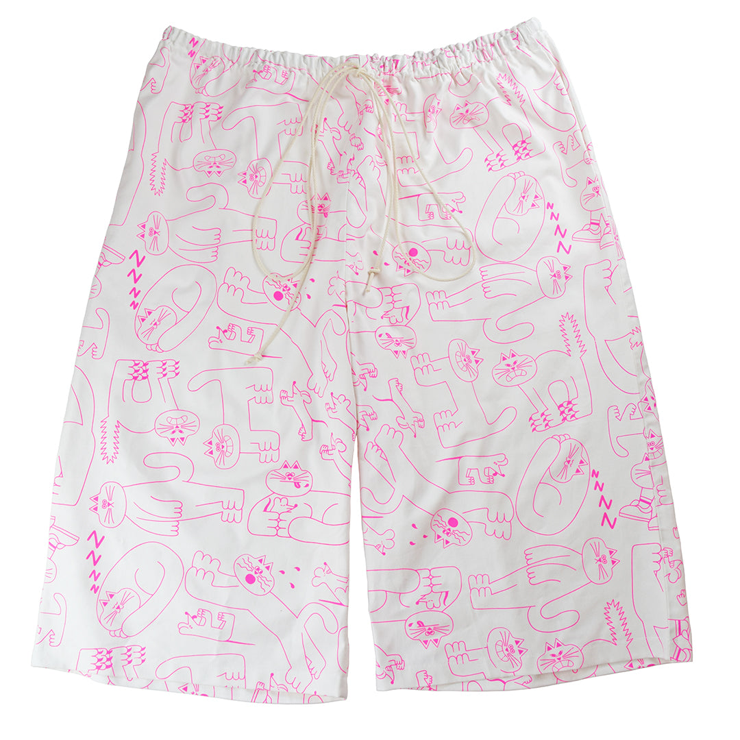 Cute white and pink cat pattern trousers ethically made from 100% organic cotton by illustration duo YUK FUN