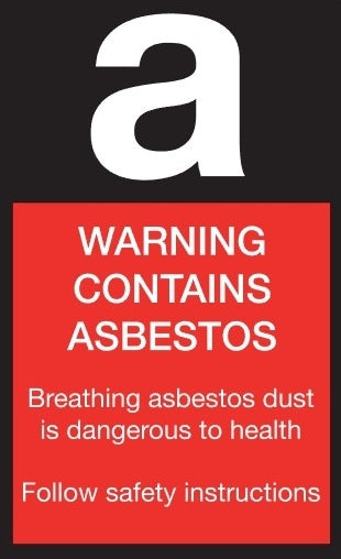 Warning Contains Asbestos Stickers