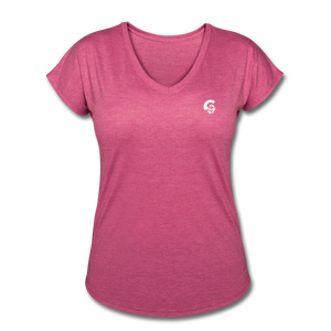 Tri-Blend V-Neck T-Shirt - heather raspberry