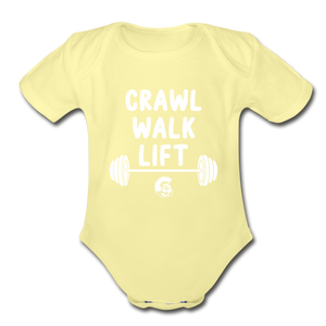 Crawl Walk Lift Baby Bodysuit_ Girl - washed yellow