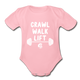 Crawl Walk Lift Baby Bodysuit_ Girl - light pink