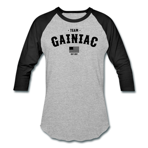 Team Gainiac Raglan- Grey/ Black - heather gray/black