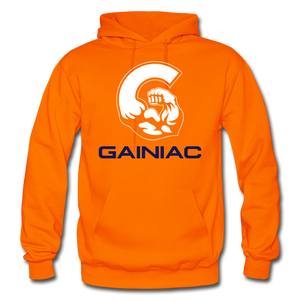 Gainiac Fleece Pullover Hoodie- Orange/  Navy Blue - orange
