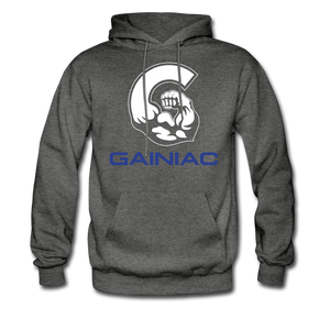 Gainiac Fleece Pullover Hoodie- Gray/ Blue - charcoal gray