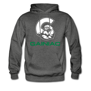 Gainiac Fleece Pullover Hoodie- Gray/ Green - charcoal gray