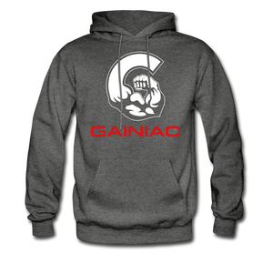 Gainiac Fleece Pullover Hoodie- Gray/ Red - charcoal gray