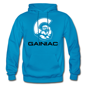 11 Gainiac Fitness Fleece Pullover Hoodie- Turquoise/ Black - turquoise