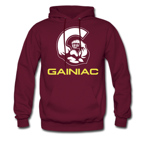 11 Gainiac Fitness Fleece Pullover Hoodie- Crimson/ Yellow - burgundy