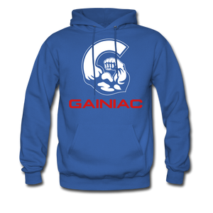 11 Gainiac Fitness Fleece Pullover Hoodie- Blue/ Red - royal blue