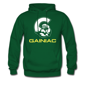 11 Gainiac Fitness Fleece Pullover Hoodie- Forest Green/ Yellow - forest green