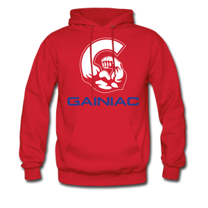 11 Gainiac Fitness Fleece Pullover Hoodie- Red/ Blue - red