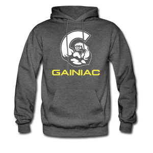 11 Gainiac Fitness Fleece Pullover Hoodie- Gray/ Yellow - charcoal gray