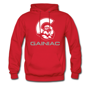11 Gainiac Fitness Fleece Pullover Hoodie- Red/ Grey - red