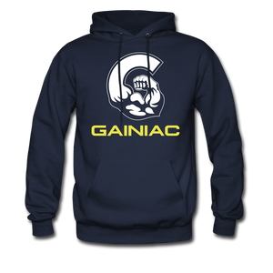 11 Gainiac Fitness Fleece Pullover Hoodie- Navy Blue/ Yellow - navy